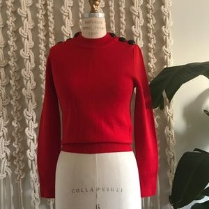 NYT H&M Red Wool Crew Sweater with Buttons